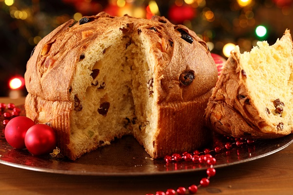 Christmas cake panettone and Christmas decorations.